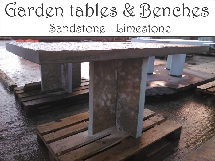 Stone Table and Benches for sale. Garden