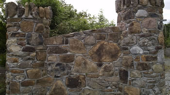 Field stone wall with birds beak joint