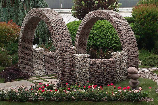 Gabions as a design in garden